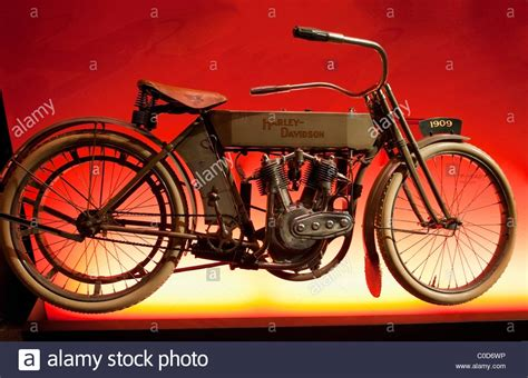 A 1909 Harley Davidson Motorcycle With The First V-twin