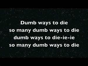 Dumb ways to die Karaoke + lyrics - YouTube