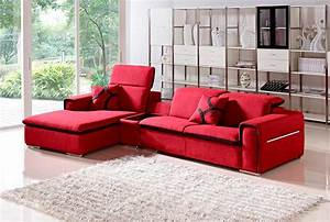 Modern red fabric sectional sofa vg201 fabric sectional for Modern red fabric sectional sofa