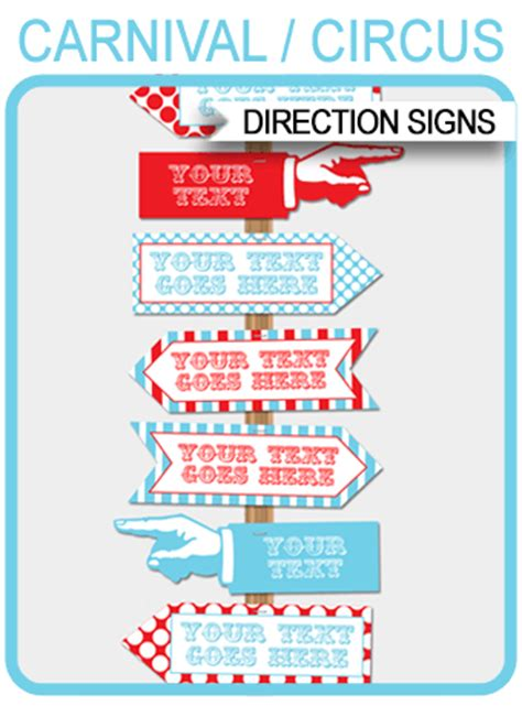 circus directional signs arrows carnival  circus party