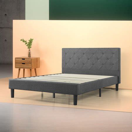 zinus upholstered diamond stitched platform bed multiple