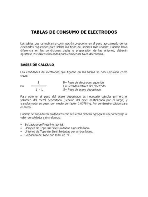 Tablas Consumo Electrodos | Soldadura | Metales de transición