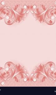 Pink background with ornament and pearls Vector Image
