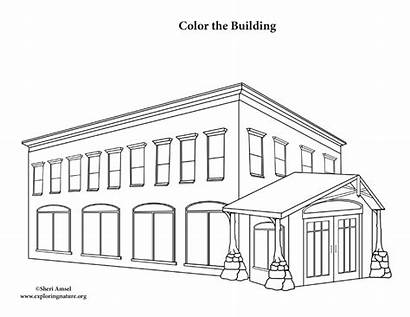 Coloring Building Office Pages Library Printing Template