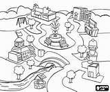 Coloring Downtown Pages Streets Villages Towns Cities Representative Buildings Memorial Town Fountain sketch template