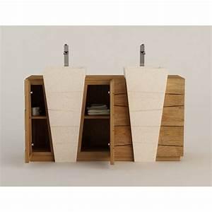 meuble teck salle de bain double vasque beton cire With meuble salle de bain design teck