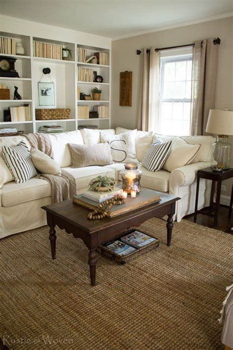 cottage style living room  pottery barn sectional