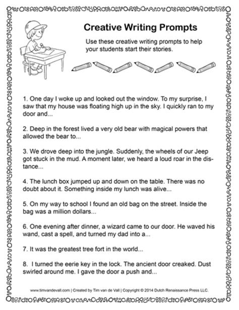 creative writing prompts  tims printables