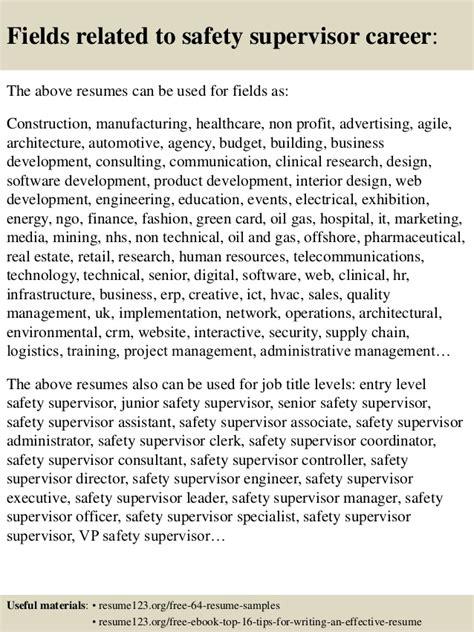 safety supervisor resume doc top 8 safety supervisor resume sles