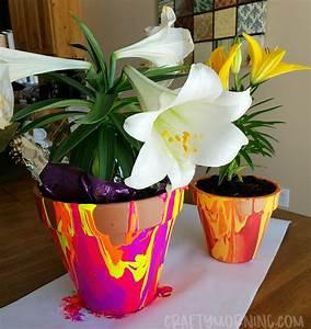 paint drip flower pots crafty morning