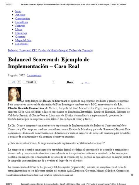 balanced scorecard ejemplo de implementaci 243 n caso real balanced scorecard kpi cuadro de