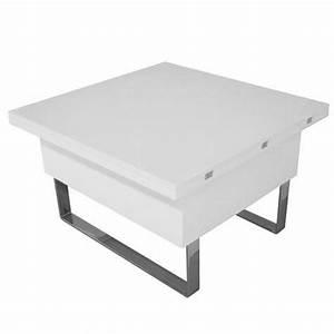 Table Multifonction : table basse relevable multifonction woods laqu e blanche ~ Mglfilm.com Idées de Décoration