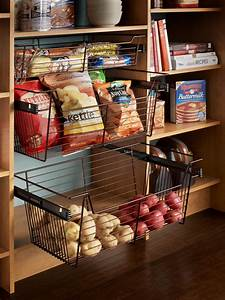 Sliding pantry storage baskets hgtv for Storage baskets for pantry