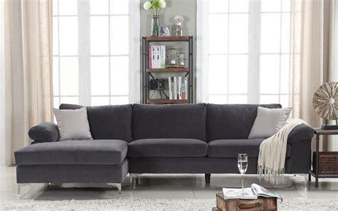 Velvet Sectional Sofa Amanda Modern Velvet Large