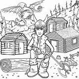 Coloring Cabin Train Viking Popular Dragon sketch template