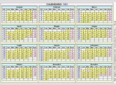 Calendario Gennaio 1981 Con santi e fasi lunari