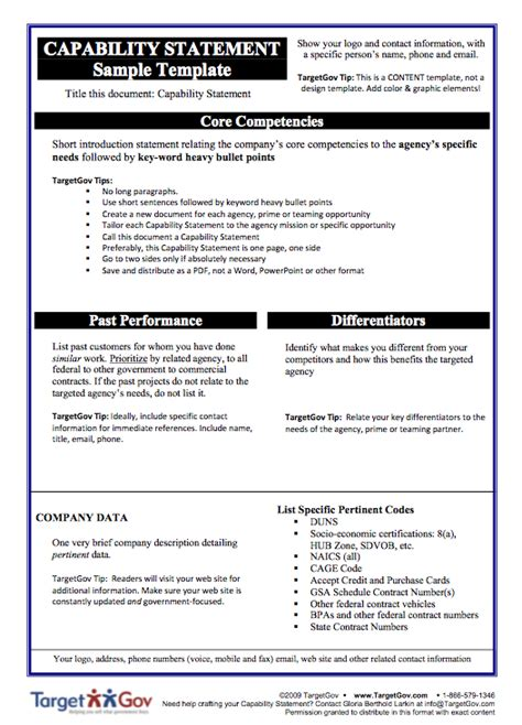 resume capability statement exles selling to the government by winning government contracts pima county library