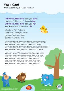 songs about pets for preschoolers lyrics poster for quot yes i can animal song from 156
