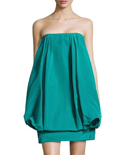 lyst oscar de la renta silk strapless dress in blue