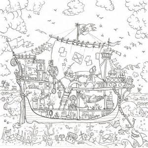 pirate ship colouring in poster by really posters