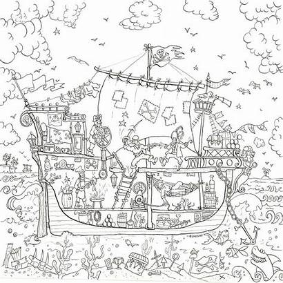 Pirate Colouring Poster Ship Giant Coloring Posters