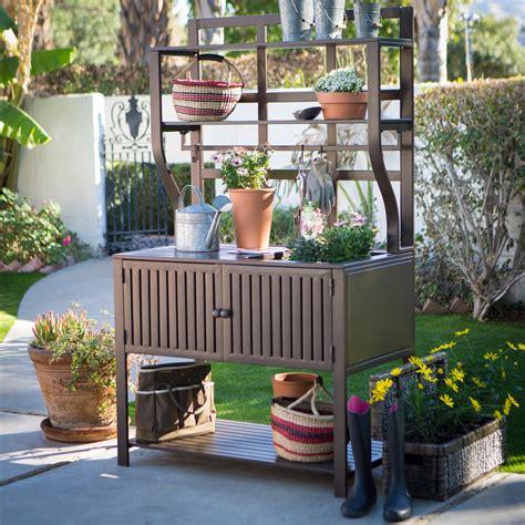 outdoor potting bench belham living modern metal outdoor potting bench with