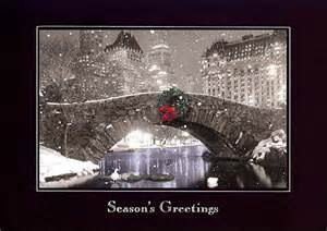 personalized new york city central park bridge w wreath christmas holiday cards