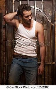 Debout Portes T Shirt Jeans Fond Sexy Blanc Homme