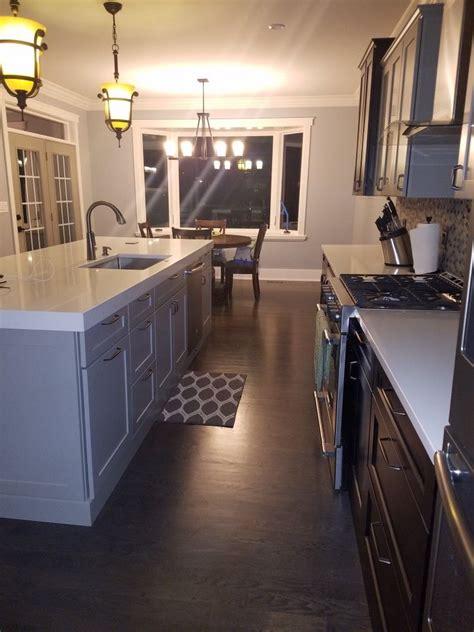 kitchen  toned cabinets grey  java  sherwin