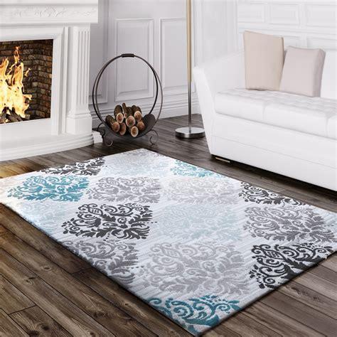 tapis design motif baroque turquoise tapis