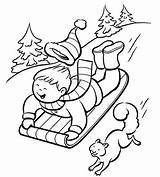 Coloring Sliding Designlooter Winter Sledding Slope Down sketch template