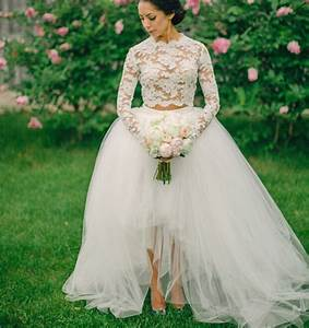 2016 white long sleeve lace wedding dress ball gown 2 two for Two piece long sleeve wedding dress