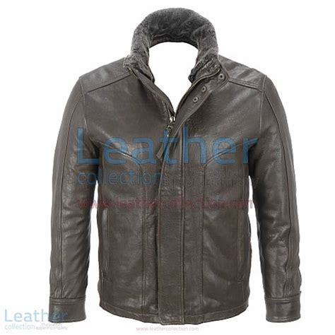rugged leather jacket buy rugged leather jacket with removable shearling collar uk