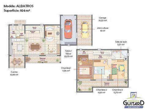 plan maison 3 chambres plain pied garage maison contemporaine à étage et toit plat modèle albatros