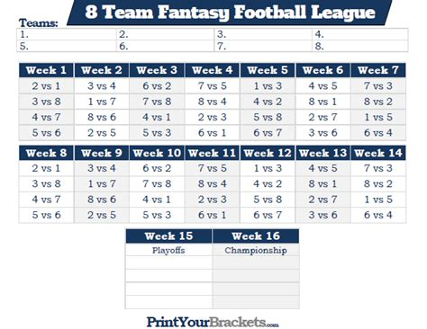 printable  team fantasy football league schedule