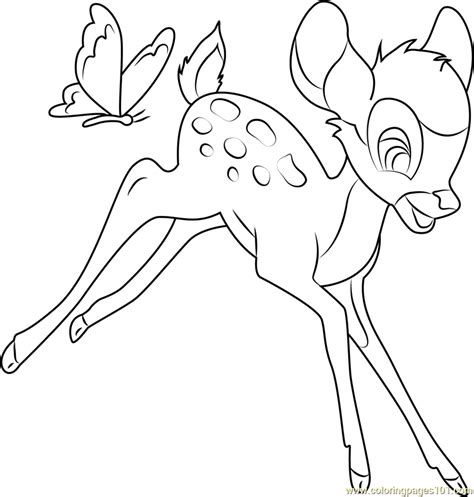 bambi  butterfly coloring page  bambi coloring