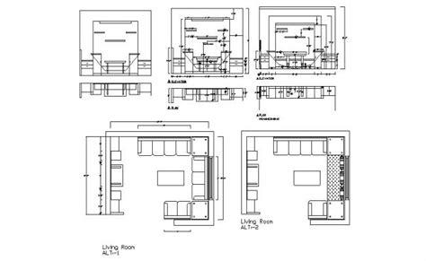 living room elevation  plan cad drawing details dwg file