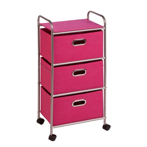 Storage Cart With Drawers And Wheels by Honey Can Do 3 Drawer Rolling Cart Pink Chrome Pink Ebay