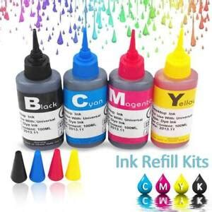 4x universal color ink cartridge refill kit 100ml for hp canon series printers 419961677709 ebay