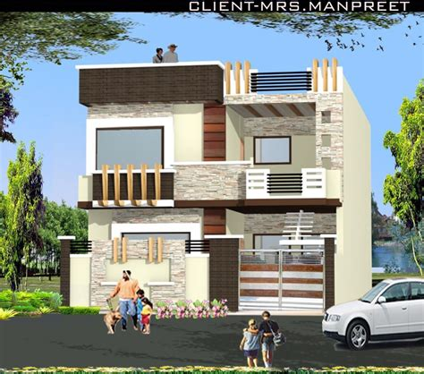 75 front design of house in india double story