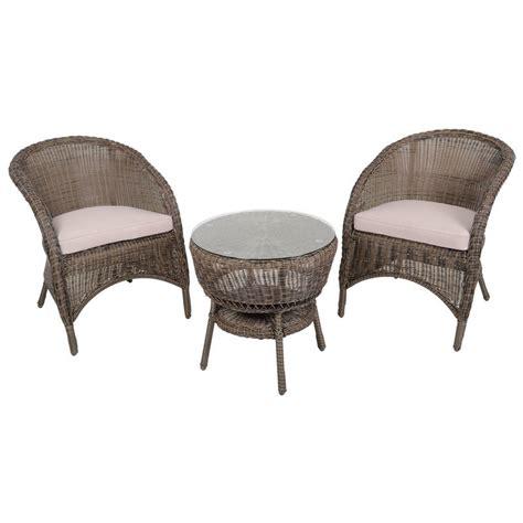 Marseille Wicker Rattan Coffee Table & 2 Chairs Garden Bistro Set
