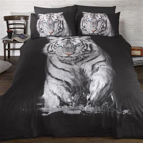 white tiger single duvet cover pillowcase set new bedding