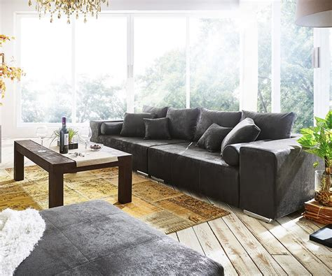 Big Sofa Marbeya 290x120 Cm Anthrazit Antik Optik Kissen