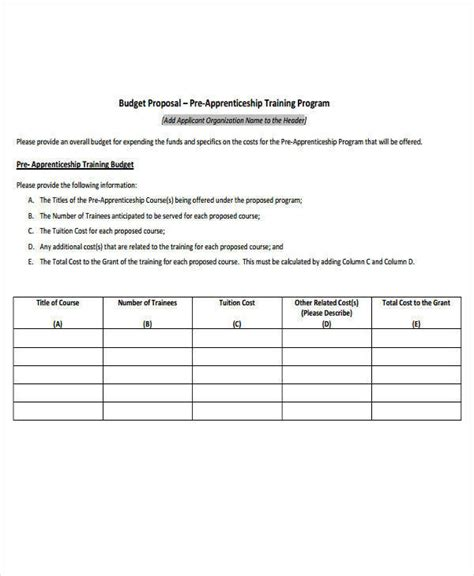 training budget template pdf 7 training proposal templates free downloadable sles