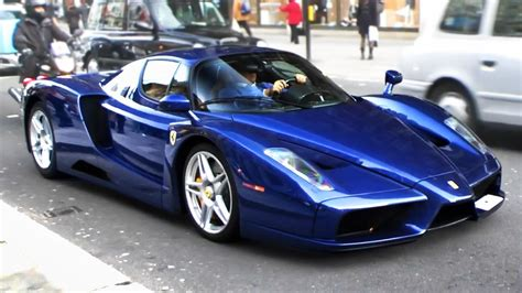 TDF Blue Ferrari Enzo driving through London! - YouTube