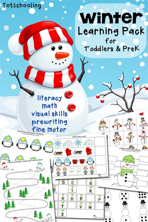 free winter printable pack for toddlers preschoolers