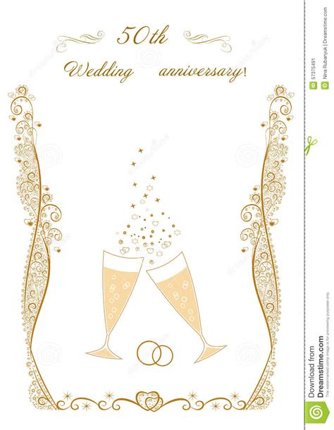 50th Wedding Anniversary Invitation Stock Vector