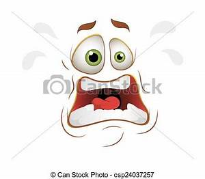 Clipart Vector of Scared Cartoon Face Expression - Cartoon ...