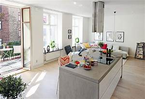 Open plan apartment design in gothenburg idesignarch for Interior design for small living room with open kitchen