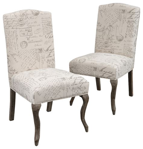 crown back script beige fabric dining chairs set